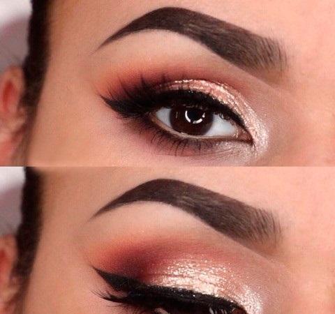 Вечерний макияж для карих глаз: фото варианта с шиммерными тенями