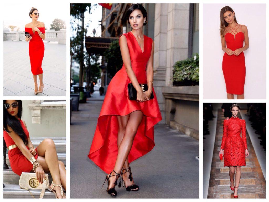 С чем носят красное платье