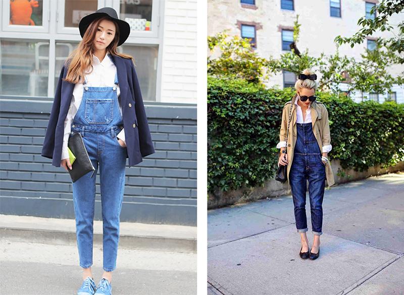 Различные фасоны блузок и джинсовый комбинезон
