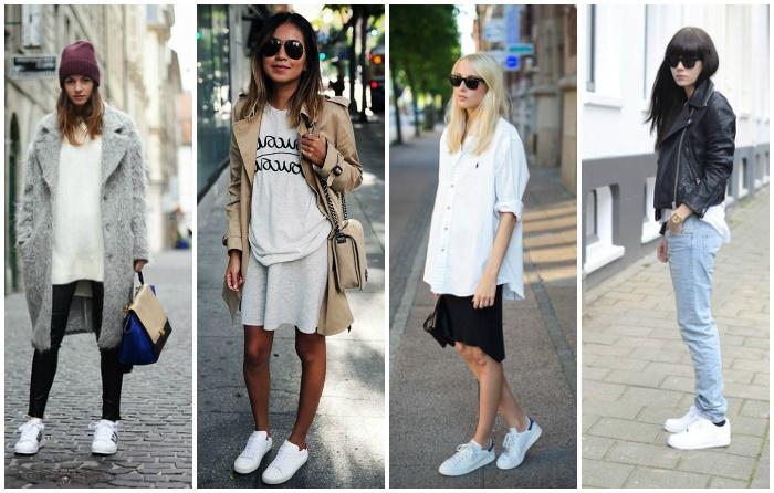 С чем сочетаются белые кроссовки