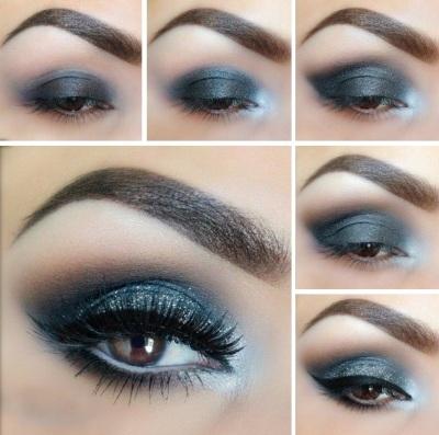 Синие и голубые тени в макияже для карих глаз