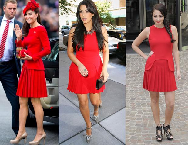 Как носить короткое красное платье