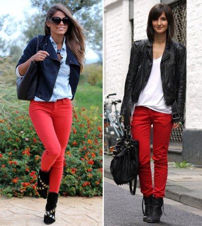 С какой палитрой сочетаются красные брюки?