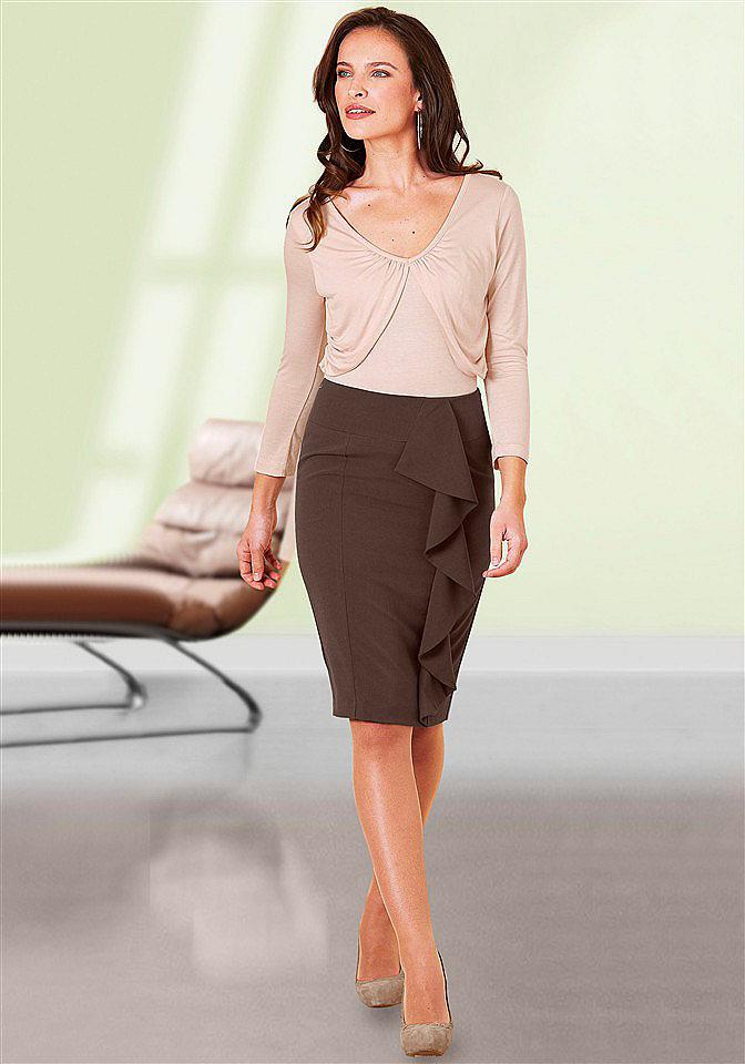 Коричневые юбки средней длины