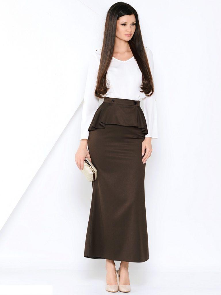 Коричневая юбка-макси