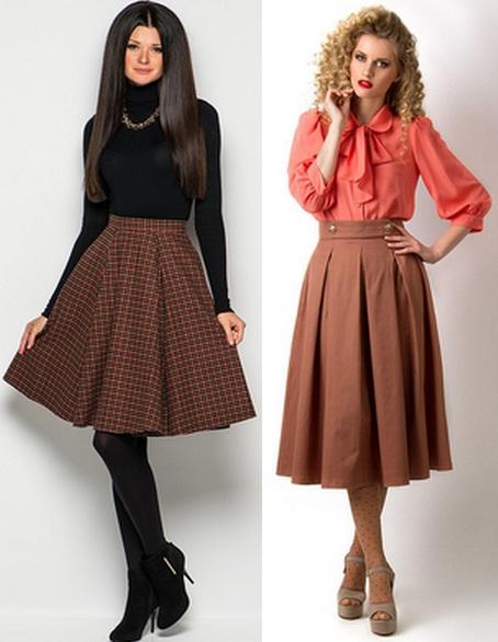 С чем носить коричневую длинную юбку фото