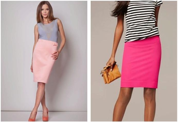 Нежно-розовая юбка с чем носить