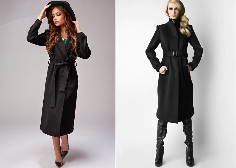 Пальто чёрного цвета до колена