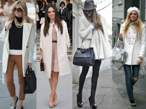Белое пальто в современных магазинах