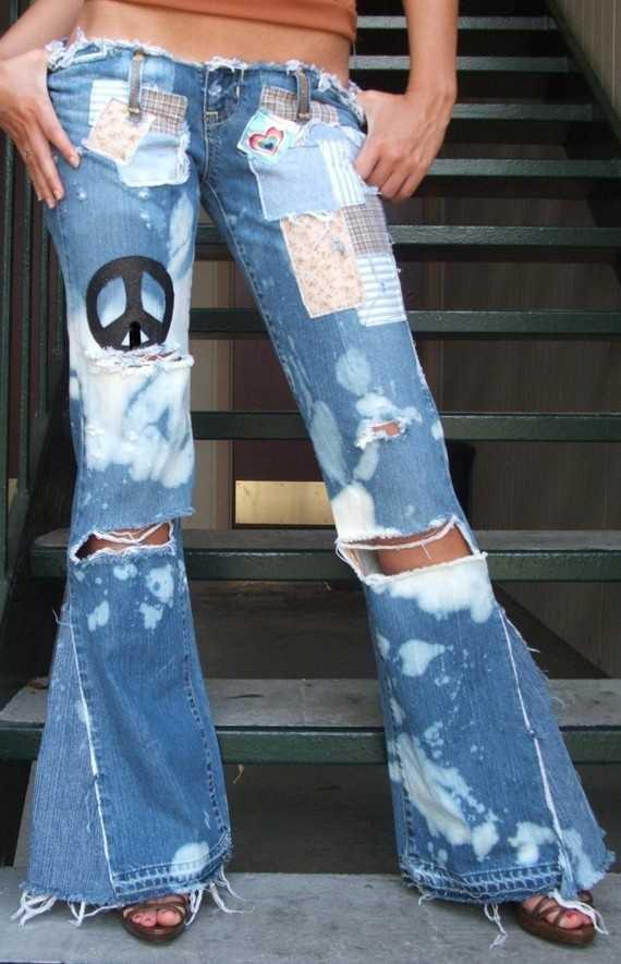 Рваные джинсы клеш своими руками