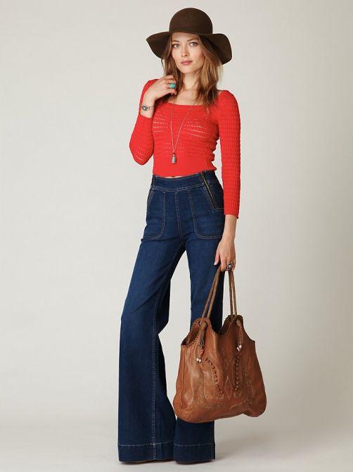 Широкие от бедра джинсы женские с чем носить