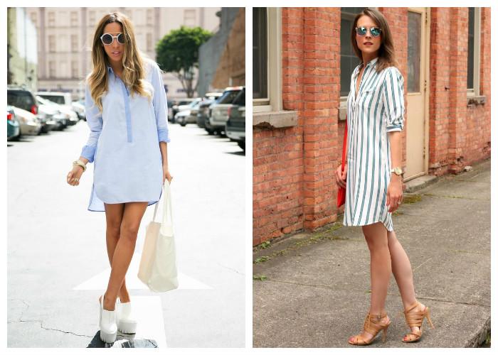 Как подобрать обувь к платью рубашка