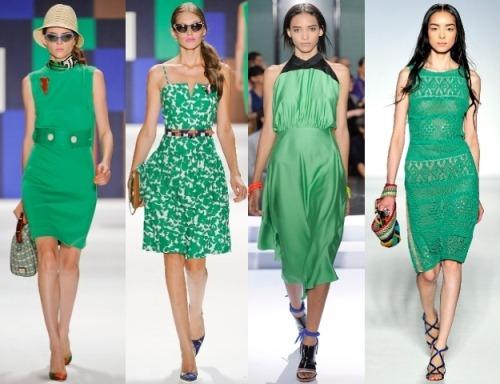 Какие туфли надеть под зелёное платье?