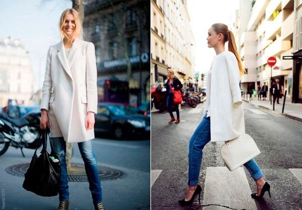 Что надевать с белым пальто?