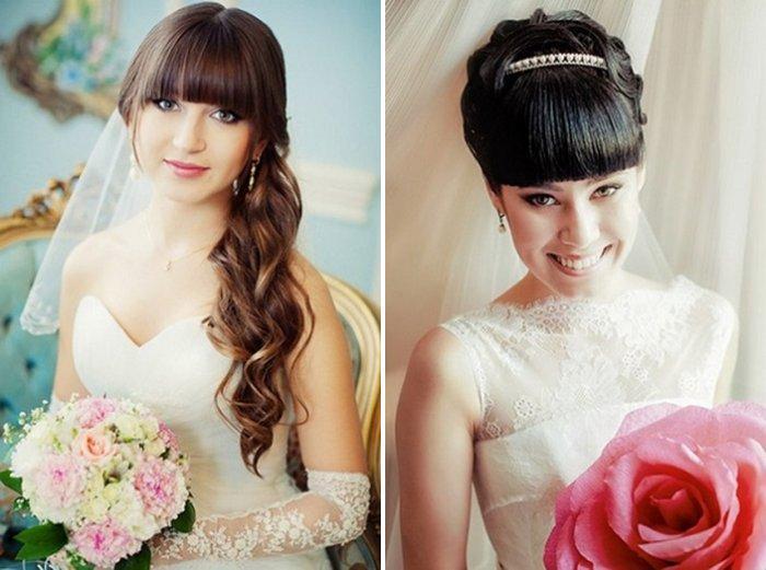 Свадебные прически красивые с челкой