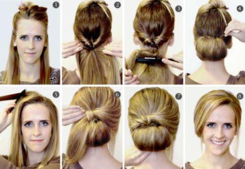Прически на каждый день на длинные волосы с челкой