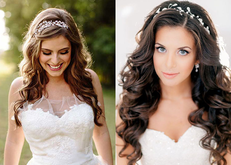 Прямые свадебные прически на длинные волосы