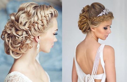Фото причёсок на свадьбу на средние волосы с чёлкой
