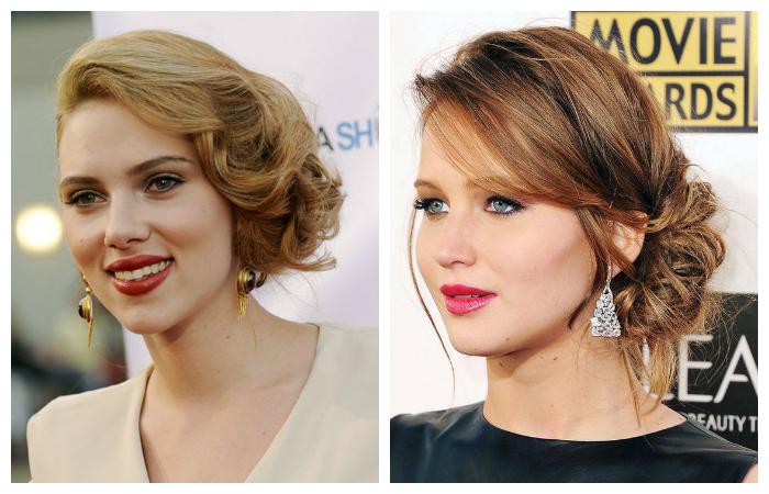 Звёздные примеры модных вечерних причёсок